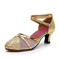 billige Moderne sko-Dame Moderne sko Syntetisk Høye hæler Strå Kubansk hæl Kan spesialtilpasses Dansesko Gull / Svart / Sølv