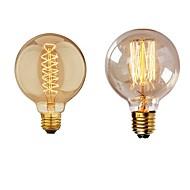 billige Glødelampe-2pcs 40 W E26 / E27 G95 Varm hvit 2200-2700 k Kontor / Bedrift / Mulighet for demping / Dekorativ Glødende Vintage Edison lyspære 220-240 V