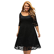 Women's Daily Elegant A Line Dress - Solid Colored White Black XL XXL XXXL