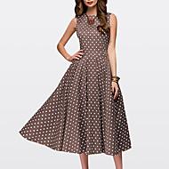 cheap -Women's Daily Swing Dress - Polka Dot Brown Green Red XXL XXXL XXXXL