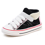 baratos Sapatos de Menino-Para Meninos / Para Meninas Sapatos Couro Inverno Conforto Tênis Velcro para Infantil Preto / Bege / Estampa Colorida