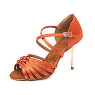 Per donna Scarpe per balli latini Raso Sandali / Sneaker Fibbia Tacco alto sottile Personalizzabile Scarpe da ballo Arancione