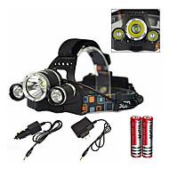 Torce frontali LED emettitori 6000 lm 1 Modalità di illuminazione caricabatterie incluso con batterie e caricabatterie Zoom disponibile, Impermeabile, Ricaricabile Campeggio / Escursionismo