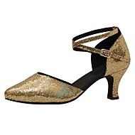 billige Moderne sko-Dame Moderne sko Syntetisk Høye hæler Strå Kubansk hæl Dansesko Gull