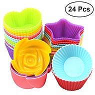 24 stücke silikon cupcake liner muffinschale rose herz runde sternform schokoladenform