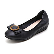 abordables Chaussures Plates pour Femme-Femme Cuir Nappa Eté Ballerines Talon Plat Blanc / Noir