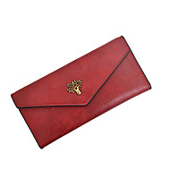 cheap Wallets-Women's Bags PU(Polyurethane) Wallet Buttons / Zipper Solid Color Red / Pink / Brown