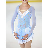 رخيصةأون الرياضات الشتوية-فستان التزلج الراقص نسائي للفتيات تزلج على الجليد الفساتين أزرق / أبيض سباندكس عالية المرونة منافسة ملابس التزلج مصنوع يدوي كلاسيكي موضة التزحلق على الجليد الرقص على الجليد