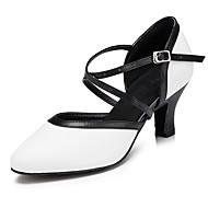 billige Moderne sko-Dame Moderne sko Lær Høye hæler Tvinning Kubansk hæl Kan spesialtilpasses Dansesko Svart-Hvit