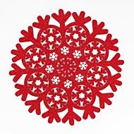 billige Kuvertbrikker-hjem multifunksjon kreativ grønn dekorasjon enkel mønster jul snøflake håndverk hule polyester isolasjon pute placemat glidende anti-scalding