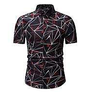 Homens Camisa Social Negócio / Básico Estampado, Geométrica / Estampa Colorida