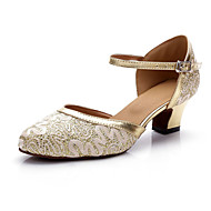 billige Moderne sko-Dame Moderne sko Blonder / Sateng Høye hæler Glimmer Tykk hæl Kan spesialtilpasses Dansesko Gull