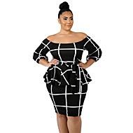 Kadın's Parti Temel Bandaj Elbise - Çizgili, Fırfırlı Diz üstü Yüksek Bel / Sexy