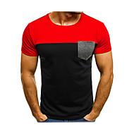 Miesten Pyöreä kaula-aukko Color Block T-paita Musta M / Lyhythihainen