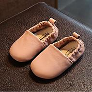 baratos Sapatos de Menina-Para Meninas Sapatos Pele Primavera & Outono Conforto / Primeiros Passos Rasos para Bébé Bege / Marron / Rosa claro