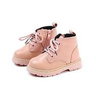 baratos Sapatos de Menina-Para Meninas Sapatos Pele Outono & inverno Coturnos Botas Cadarço para Infantil Preto / Bege / Rosa claro / Botas Cano Médio