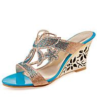 baratos Sapatos Femininos-Mulheres Couro Ecológico Verão Sandálias Salto Plataforma Dedo Aberto Pedrarias / Lantejoulas Dourado / Azul / Casamento / Festas & Noite