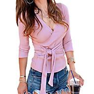 V-hals Skjorte Dame - Ensfarget Grunnleggende Rosa M / Sexy