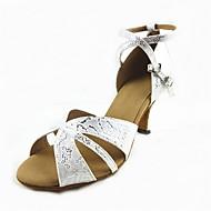 billige Sko til latindans-Dame Sko til latindans PU Høye hæler Kubansk hæl Dansesko Sølv