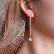 Kadın's Kübik Zirconia Klasik Uzun Damla Küpeler Kristal Kübik Zirconia Küpeler Bayan Basit Klasik Koreli Mücevher Altın / Gümüş Uyumluluk Dışarı Çıkma Çalışma 1 çift