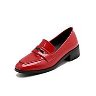 baratos Sapatos Femininos-Mulheres Couro Ecológico Primavera Verão Casual / Minimalismo Saltos Salto de bloco Ponta quadrada Vermelho / Verde / Rosa claro