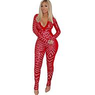 Femme Soirée Basique V Profond Noir Rouge Rose Claire Crochet Mince Combinaison-pantalon, Bloc de Couleur Paillettes L XL XXL Manches Longues