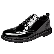 cheap Men's Boots-Men's Combat Boots Patent Leather Fall Casual Boots Breathable Booties / Ankle Boots Black