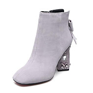 baratos Sapatos Femininos-Mulheres Camurça Outono Botas Salto Robusto Dedo Fechado Botas Curtas / Ankle Preto / Cinzento Claro