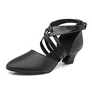 billige Moderne sko-Dame Moderne sko Lær Høye hæler / Joggesko Spenne Kubansk hæl Kan spesialtilpasses Dansesko Svart