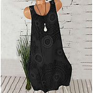 Femme Grandes Tailles Plage Mi-long Courte Robe - Imprimé, Fleur Col en U Gris Fuchsia Bleu royal XXXL XXXXL XXXXXL Sans Manches / Sexy