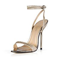 baratos Sapatos Femininos-Mulheres Sintéticos Primavera Verão Clássico / Minimalismo Sandálias Salto Agulha Dourado / Prata / Casamento / Festas & Noite