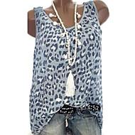 Жен. Леопардовый принт / С принтом Большие размеры - Блуза Геометрический принт / Контрастных цветов Розовый XXXL / Весна / Лето / Осень