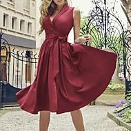 Damen Retro Schlank Etuikleid Kleid Midi V-Ausschnitt