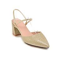 baratos Sapatos Femininos-Mulheres Couro Sintético Primavera Verão Sandálias Salto Robusto Dedo Apontado Dourado / Prata