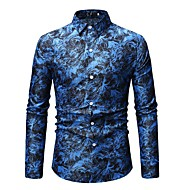 Муж. С принтом Рубашка Тонкие Геометрический принт Синий XL