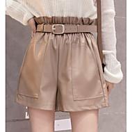 Mulheres Moda de Rua Perna larga Calças - Sólido Cintura Alta Preto