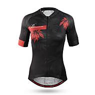 Mountainpeak Women's Short Sleeve Cycling Jersey - Black Floral / Botanical Bike Jersey Quick Dry Anatomic Design Sports Winter Coolmax® Terylene Mountain Bike MTB Road Bike Cycling Clothing Apparel