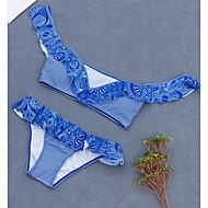 여성용 스트랩 푸른 치키 팬티 비키니 수영복 - 기하학 프린트 M L XL 푸른 / 슈퍼 섹시한