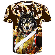 Men's Club Basic / Street chic T-shirt - Color Block / Animal Wolf, Print Round Neck Brown XXL / Short Sleeve / Summer
