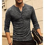 Men's Basic / Street chic T-shirt - Solid Colored V Neck / Long Sleeve