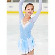 cheap -Figure Skating Dress Women's Girls' Ice Skating Dress Blue / White Spandex High Elasticity Competition Skating Wear Handmade Classic Fashion Ice Skating Figure Skating