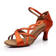 billige Sko til latindans-Dame Sko til latindans Sateng Sandaler / Høye hæler Kubansk hæl Kan spesialtilpasses Dansesko Oransje