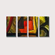 billiga Abstrakta målningar-Hang målad oljemålning HANDMÅLAD - Abstrakt Samtida Moderna Inkludera innerram / Fyra paneler