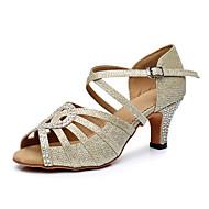 Per donna Scarpe per balli latini Sintetico Tacchi Dettagli con cristalli Tacco cubano Personalizzabile Scarpe da ballo Oro