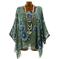 Mulheres Tamanhos Grandes Blusa Flor / Floral / Estampado, Geométrica / Estampa Colorida Verde XXXL / Primavera / Verão / Outono