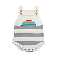 赤ちゃん 男の子 ベーシック 日常 ブラック&ホワイト ストライプ / 虹色 縞柄 ノースリーブ コットン ボディスーツ ホワイト