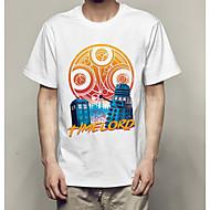 Ανδρικά T-shirt Βασικό Μονόχρωμο / Γεωμετρικό Στρογγυλή Λαιμόκοψη Λευκό XL / Κοντομάνικο
