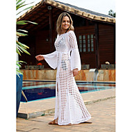 Women's Plunging Neck White Skirt Cover-Up Swimwear - Solid Colored One-Size White / Sexy