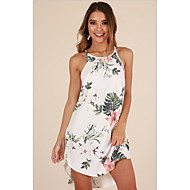 Women Holiday Beach Sheath Dress Print Strap White Navy Blue Robe Femme Vestidos Floral Chiffon Dresses