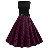 Kadın's Sokak Şıklığı Zarif Çan Elbise - Zıt Renkli, Desen Diz-boyu